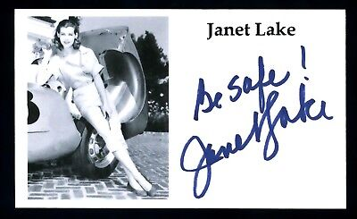Janet Lake Actress Ozzie & Harriet, Wyatt Earp, Bonanza Signed 3x5 Card C12901