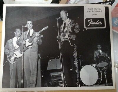 Orig 1960's Era Fender Promo Artist Photo Buck Owens &Band 8by 10 glossy