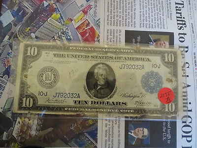 1914  $10 U.S. Federal Reserve Note Kansas City District  Nice Large Size Note !