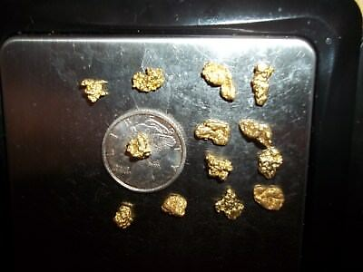 5.11 Grams Alaska Natural Gold Nugget,13 Nuggets, Nice Color , Low Shipping $ !