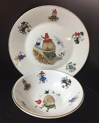 1950's Arklow Child's Humpty Dumpty Plate & Bowl Made in Republic of Ireland