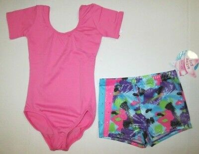 New Girls Leotard Shorts Set SC 4-6 IC 6-8 MC 8-10 LC 12-14 Dance Gymnastics Lot