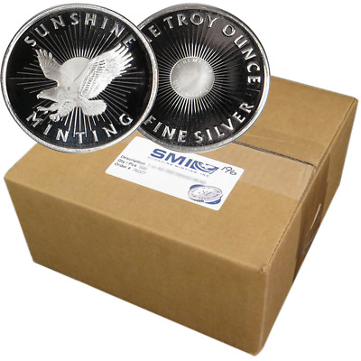 Lot of 500 - 1 Troy oz Sunshine Minting .999 Fine Silver Round Mint Mark SI