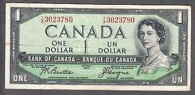 1954 Bank of Canada $1.00 Devil Face Note Very Fine - Beattie Coyne T/A 3623780