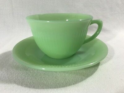 Vintage Fire King Green Jadeite Jane Ray Cup and Saucer 1950's Set of 5