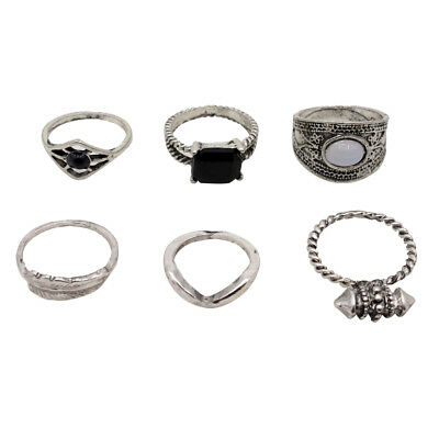 6Pcs Bohemian Vintage Punk Knuckle Joint Nail Ring Set Women Girls Jewelry