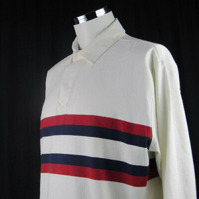32cbfa4b Vintage L.L Bean Men's Blue Red White Striped Rugby Polo Long Sleeve Shirt  Large
