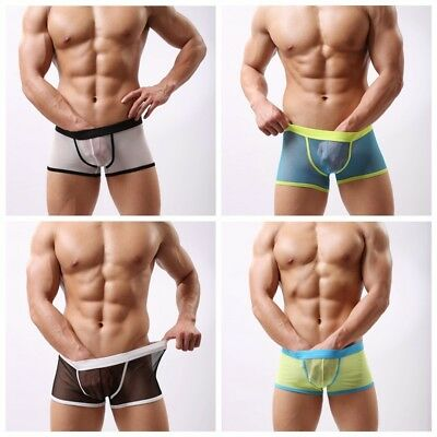 Mens Mesh Sheer See Through Boxers Bulge Pouch Trunk Briefs Underpants Underwear