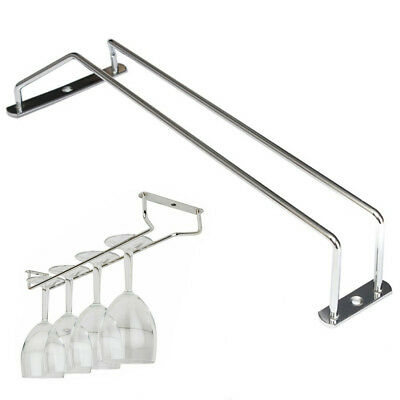 1PC 35CM Chrome Plated Wine Glass Cup Wall Rack Kitchen Bar Holder Hanger+Screw