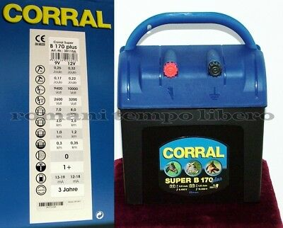 Elettrificatore per recinti elettrici New Corral Super B170 Plus 9v -12v e 230v