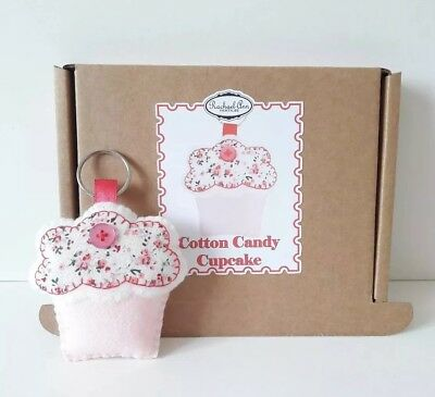 make your own cotton candy cupcake keyring. felt sewing kit.