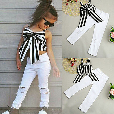 Kids Toddler Baby Girl Striped Bow Top Shirt+Hole Pants Clothes Outfit 2PCS/1Set