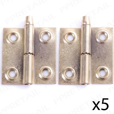 5 PAIRS OF RIGHT HANDED LIFT OFF DOOR HINGES Brass 36mm Rising Butt Tapered Pin