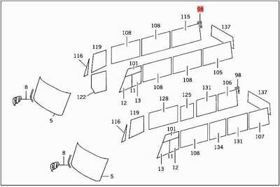 Genuine Mercedes C107 W107 Coupe Rubber moulding 2800 mm 1076730121