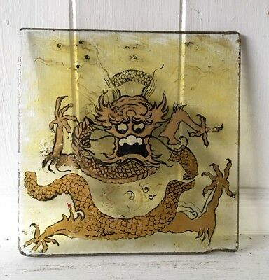 Vintage Oriental Glass Panel Dipicting A Dragon Handpainted In Gold