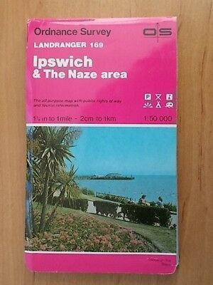 1988 ORDNANCE SURVEY LANDRANGER SHEET MAP No 169 IPSWICH & THE NAZE AREA