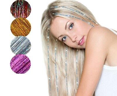 Holographic Sparkle Hair Tinsel Strands Glitter Extensions Highlight Party Bling