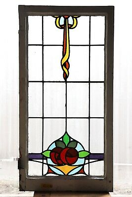 Large Tall Antique Stained Glass Window Eight Color Macintosh Roses (3101)