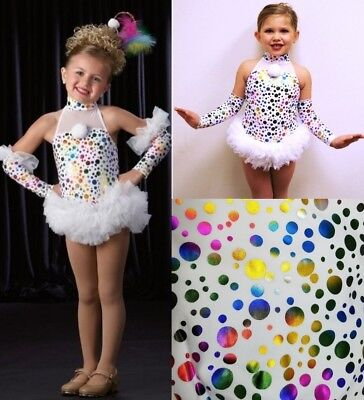 Cindy Lou Who Dance Tap Costume Colored Dots Circus Clown Sleeves Child Large