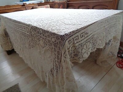 "Bobbin Lace Tablecloth 85"" X 92"" Ivory, Gorgeous, Free Shipping"