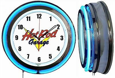 "Hot Rod Garage 19"" Double Neon Clock Blue Neon Chrome Finish"