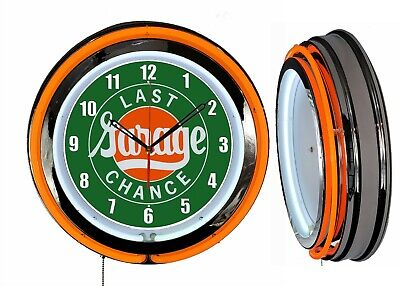 "Last Chance Garage 19"" Double Neon Clock Orange Neon Chrome Finish"