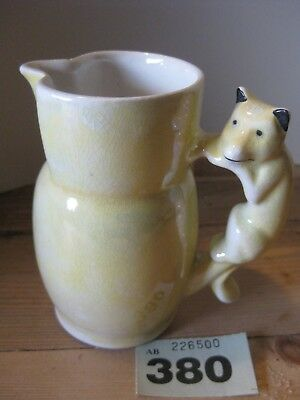 Unmarked Unknown Pottery Yellow Luster Lustre Fox Dog Handle Milk Cream Jug