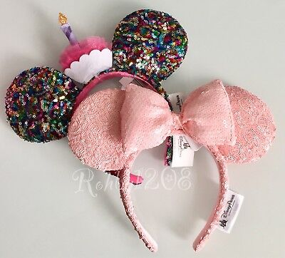 BNWT Disney Parks Millennial Pink Minnie Ears Birthday Cupcake Candle Headband