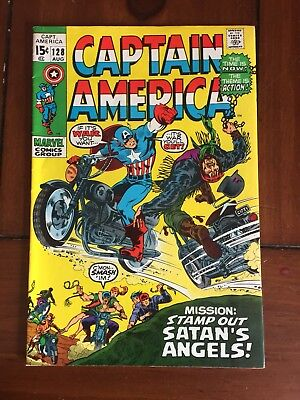 "Captain America # 128 August 1970 VF+ ""STAMP OUT SATAN'S ANGELS!"""