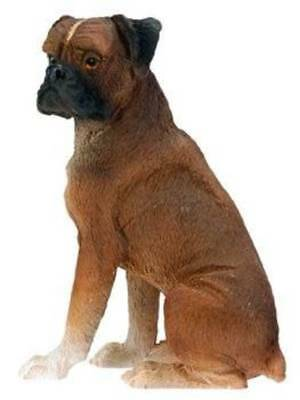 Boxer Dog Figurine 3 inch Statue Resin Sitting Down