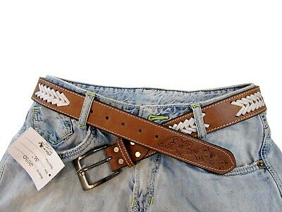 Custom Western Mens Belt Jeans Casual Pants Rider Stitched Floral Tooled Leather