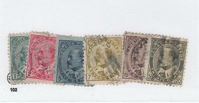 CANADA  (MK1039)  #89-94  F  LIGHT USED VARIOUS cts EDWARD VII CAT VALUE $65