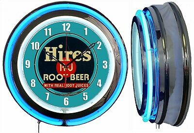 """Hires Root Beer 19"""" Double Neon Clock Blue Neon Chrome Finish"""