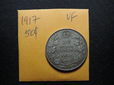 1917 50 Cent Coin Canada King George V Fifty Cents .925 Silver VF Condition