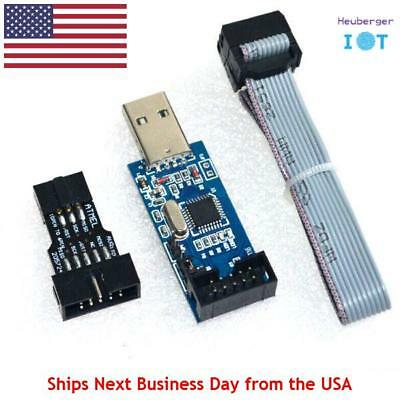 USBISP AVR 10 Pin ISP USB Programmer 3.3V/5V 51 ATMEGA8 + Cable & 6 Pin Adapter