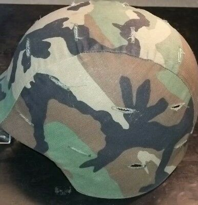 Black US Military PASGT Kevlar Helmet Unicor W/Woodland Cover size medium