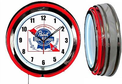"""Pabst Blue Ribbon PBR Beer 19"""" Double Neon Clock Man Cave Bar Garage Red Neon"""