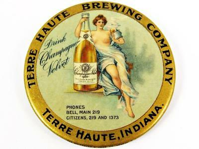 Antique Terry Haute Brewing Champagne Velvet Advertising Celluloid Pocket Mirror