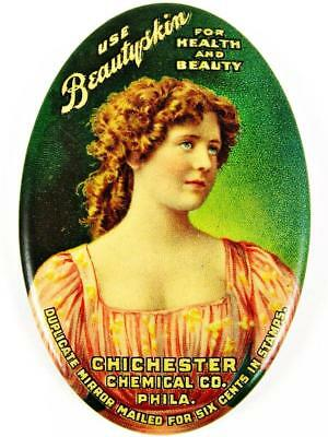 Antique Beautyskin Chichester Chemical Co. Advertising Celluloid Pocket Mirror