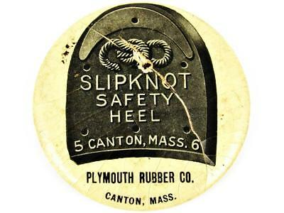 Antique Plymouth Rubber Slipknot Safety Heel Advertising Celluloid Pocket Mirror