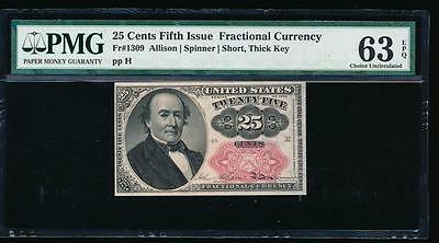 AC Fr 1309 $0.25 fractional fifth issue PMG 63 EPQ short thick key in seal
