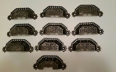 10 matching antique victorian cast iron bin pulls drawer pulls  handles (151H)