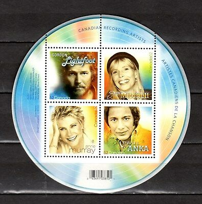CANADA 2007 S/SHEET,CANADIAN RECORDING ARTISTS UC#2221a-d IN MINT CONDITION