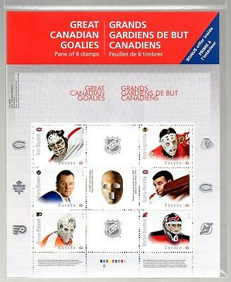 "Full Pane  2015 Nhl Goalies,  ""P"" Domestic Value, 6 Stamps,"