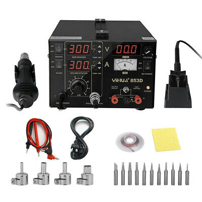853D 3in1 230V SMD ESD Rework Soldering Station Iron Hot Air Gun DC Power Supply