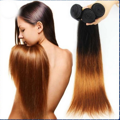 Ombre 1B/#30 Hair Weave Remy Brazilian Human Hair Extension 1/3 Bundles 50G/150G