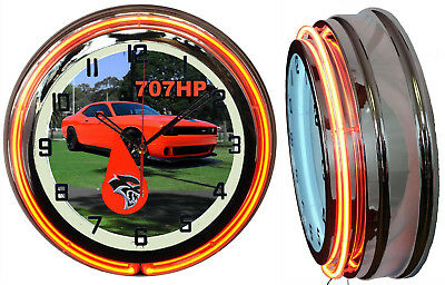 "Hellcat Car 707 HP Challenger 19"" Double Neon Clock Orange Neon Chrome Finish 2"