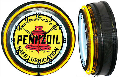 "Pennzoil Safe Lubrication 19"" Double Neon Clock Yellow Neon Carbon Fiber Look"