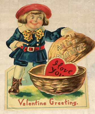 """Superb Movable Vintage Valentine Greeting """"All in a Nutshell"""" 1930s or earlier"""