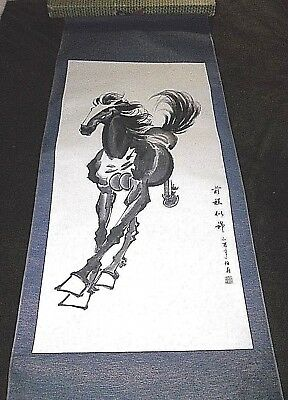 """Antique Chinese Watercolor Scroll Painting HORSE 54.5"""" Signed In ORIGINAL Box"""